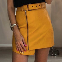 Autumn and winter new leather locomotive zipper A word skirt