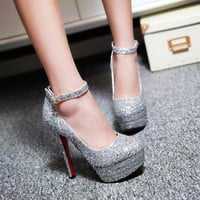 Women Casual Cone High Heel Buckle Pumps