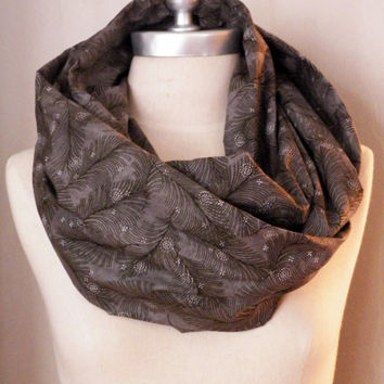 Infinity Scarf Charcoal Gray, Peacock Feathers, Cotton Fabric, Circle Scarf, Loop Scarf, Bird Feather Print