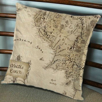 Middle Earth Map The Lord of the Rings for Pillow cover