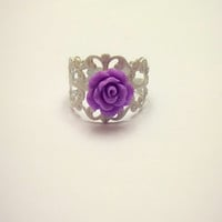 Purple Rose Filigree White Ring Floral Adjustable Statement Ring