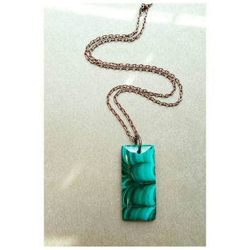 Gorgeous Malachite Slab on Copper necklace