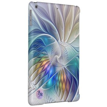 Floral Fantasy, abstract and modern, Monogram Cover For iPad Air