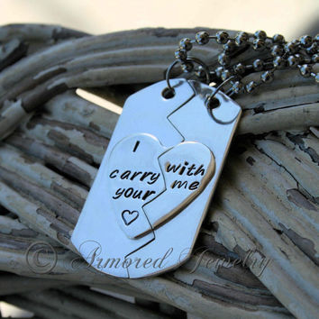 Sterling Silver I Carry Your Heart split dog tag necklace set