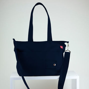 Navy Blue, Handmade, Chic, Canvas Bag, Double & long strap, Fully Lined, Two Big Pocket, Adjustable Removable strap, Cross body Bag, Purse