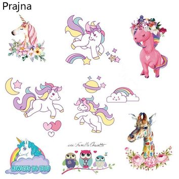 Prajna Dreamcatcher Cat Unicorn Patches Iron On Transfers For T shirt Clothes Vinyl Hot Heat Thermal Transfer Stickers Applique