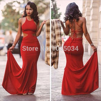 Charming Chiffon Mermaid Prom Dresses Halter Sleeveless Criss Cross Straps Backless Court Train Custom Made Sexy Evening Dresses