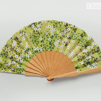Green Spring flowers Spanish hand fan -  Nature print Floral accessory Wedding Bouquet