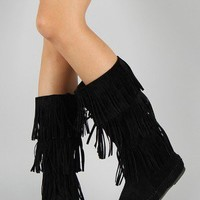 Bamboo Friends-28 Fringe Moccasin Mid Calf Boot