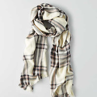 AEO Plaid Blanket Scarf , Cream