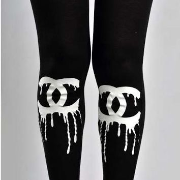 CC Paint Drip Knee Tights Leggings Black Stretch Comfy Pants Fashion Trend