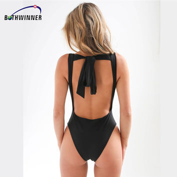 Bothwinner  Backless Tie Back  Lace Up Women's Bodysuits Slim Sexy Elegant Bodycon Bodysuits Rompers Womens Jumpsuit