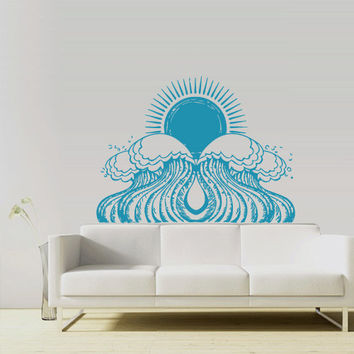 Wall Vinyl Sticker Decals Decor Art Bedroom Design Mural Sun Ocean Water Beach Wind (z2989)