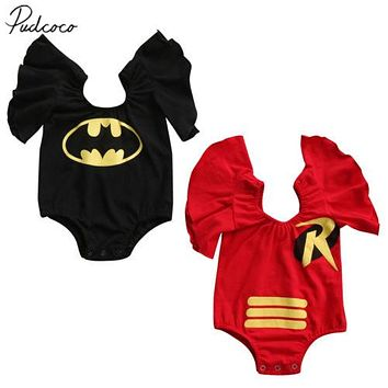 Pudcoco 2017 Toddler Baby Girls Batman Flying sleeves Cartoon Bodysuit Jumpsuit Outfit Clothes 0-3Y