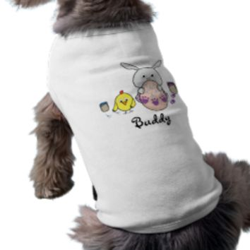 Custom name with Cute Bunny and chick Happy Easter Doggie T-shirt