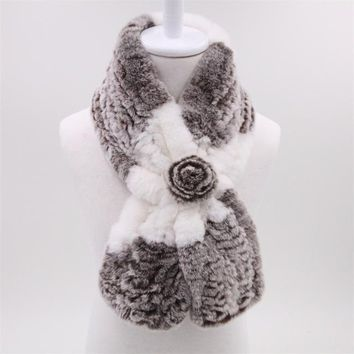 Rabbit Fur Women's Scarf - Light Grey and White