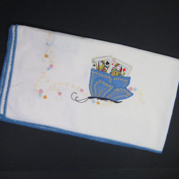 Vintage Embroidered Table Cloth, Card Table Cotton Table Cloth, Butterfly Playing Card Holders