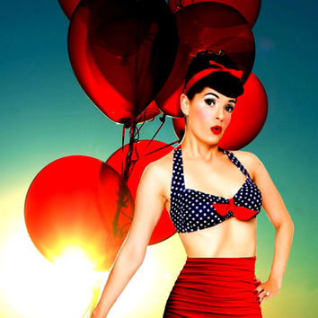 Rita Bikini  Retro Top & Attached Skirt Tummy Control bottoms in Small Navy Dot and Red