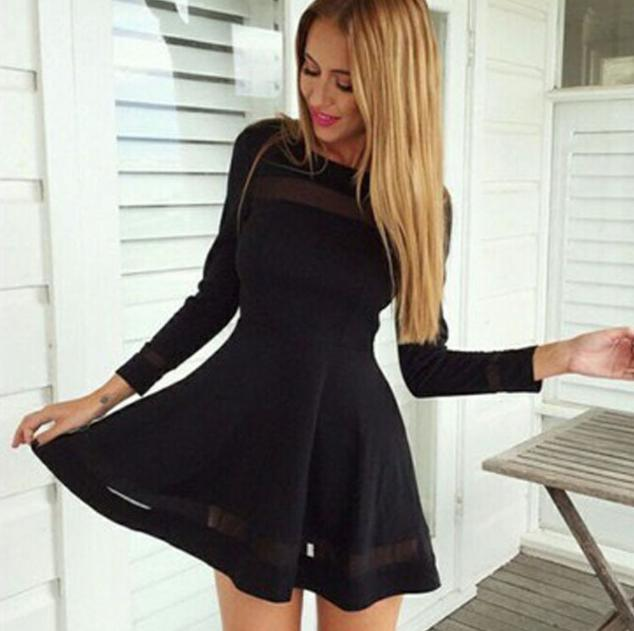 Black Mesh Patchwork Long Sleeve Dress From Love Luxe