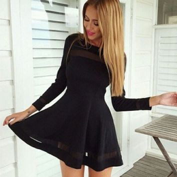 Black  Mesh Patchwork Long Sleeve Dress
