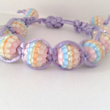 Hand-Woven Adjustable Beaded Shamballa Bracelet with Multi-colour Beads