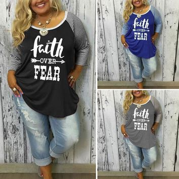 "RealChicksRule™ ""Faith Over Fear"" Long Raglan Sleeve Printed T-Shirt Sizes L - 3X"