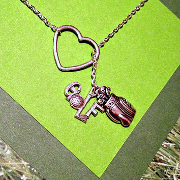 Golf Necklace with Heart, golf ball and golf bag, handmade jewelry