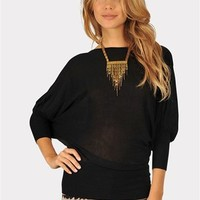 Nightingale Dolman Sweater - Black at Necessary Clothing