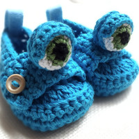Blue Monster Baby Moccasins by beliz82 on Etsy