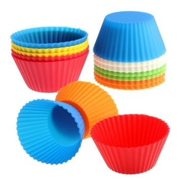 Pack of 12 Muffin DIY Silicone Cake Cup Chocolate Mold Round Baking Cupcake = 5658090433