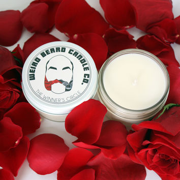 The Winner's Circle 4oz soy candle rose and leather scented