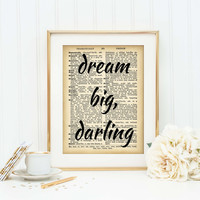 Inspirational Art Print, Dictionary Page Print, Office Decor, Motivational Poster, Typography, Dream Big Wall Art, Graduation Gift, SKU:032