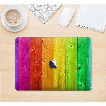 "The Rainbow Highlighted Wooden Planks Skin Kit for the 12"" Apple MacBook"