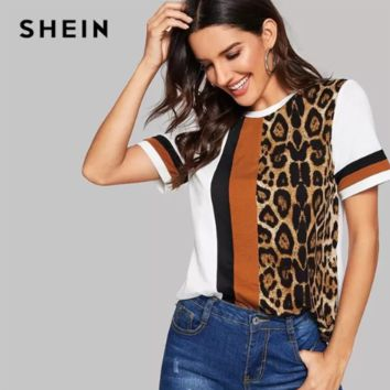 70319641c3 SHEIN White Color Block Cut-and-Sew Leopard Panel Top Short Slee