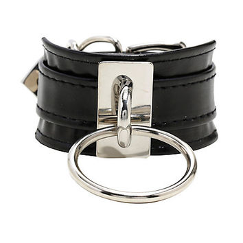 Large O Ring & Metal Plate Faux Leather Cuff