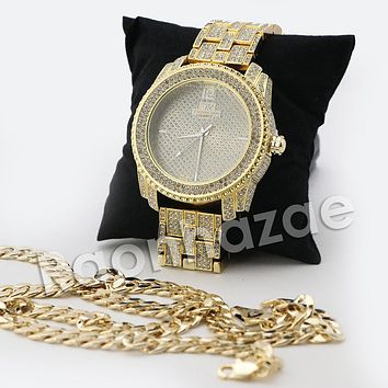 HIP HOP ICED OUT RAONHAZAE JEEZY GOLD FINISHED LAB DIAMOND WATCH CUBAN CHAIN SET5