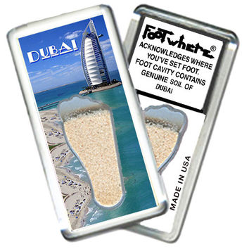 Dubai, UAE FootWhere® Souvenir Magnet. Made in USA