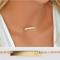 Small Bar Necklace, Delicate Necklace, Skinny Bar Necklace Engraved, Initial Bar Necklace Gold, Silver, Rose Gold 4x30