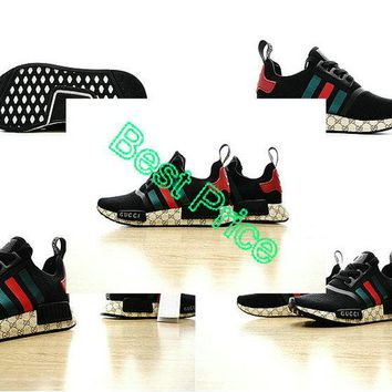 sneaker unisex 2017 New Gucci x Adidas NMD Custom Black Red Green 259585 shoe