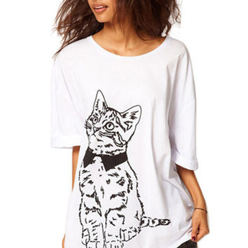 White Cat With Collar Print T Shirt