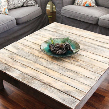 Rustic Reclaimed Wood Large Square Coffee Table - Natural Finish - Made From Upcycled Pallet Wood - Sofa Table