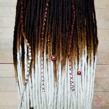 Wool Dreadlocks Custom Wool Dreads Handmade Hippie Dreads Hair Extensions Wool Dreads Ombre Hair Accessories Set of 50