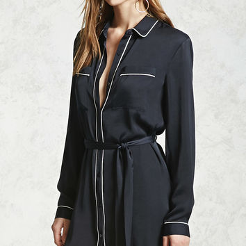 Satin Belted Shirt Dress