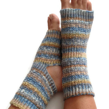 Toeless Yoga Socks Hand Knit in Faded Jeans Pedicure Pilates Dance