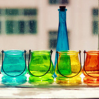 Glass Hanging Container -- for water plants, succulents, dried flowers, tea light holder --rainbow colors