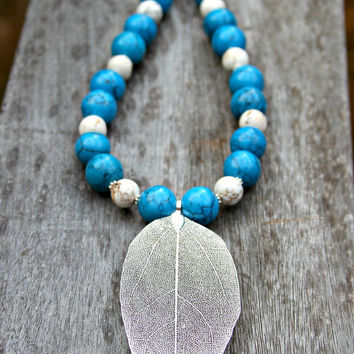 SALE Silver Leaf Pendant Necklace - Blue Turquoise White Howlite Rustic Tribal Woodland Frosty Winter Forest Southwest Country Chic by Mei