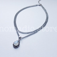 double layer tibetan rainbow moonstone choker - 2 - Nomadic Store