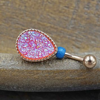 Pink Druzy Rose Gold Belly Button Ring - Short Belly Button Jewellery