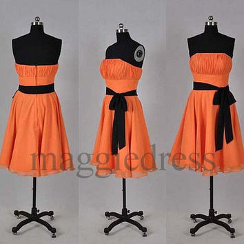Custom Orange Short Bridesmaid Dresses 2014 Bridesmaid Dresses Party Dress Prom Dress Evening Dresees Party Dresses Wedding Party Dress