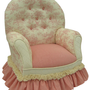 Toile Pink Child Queen Anne Chair